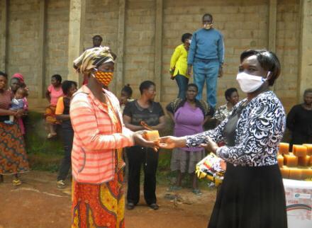 Distributing soap Bamenda, Cameroon
