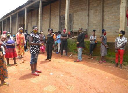 Farmers with masks Bamenda,Cameroon
